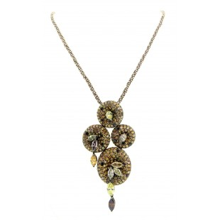 18K GOLD CHAMPAGNE, CHOCOLATE, YELLOW, BLACK AND WHITE DIAMOND PENDANT NECKLACE