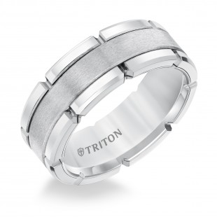 TUNGSTEN FLAT COMFORT FIT BAND WITH BRUSHED CENTER POLISHED NOTCHED EDGES. 8MM