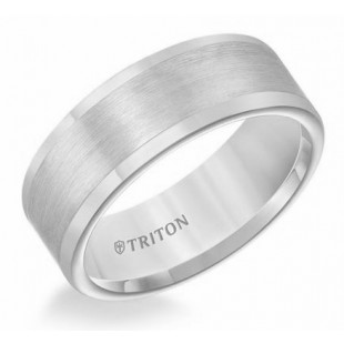 8MM Tungsten Satin Finish Flat Center Comfort Fit Wedding Band.
