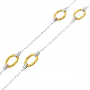 "40"" STERLING SILVER & YELLOW WOVEN 6 OVAL LINK CUBIC ZIRCONIA NECKLACE"