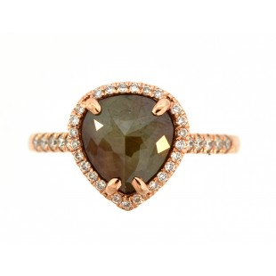14K ROSE GOLD 1.85CT ROSETTE DIAMOND RING.