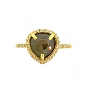 14K YELLOW GOLD 1.85 CT PEAR SHAPE ROSETTE CUT DIAMOND.