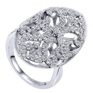 14K WHITE GOLD DIAMOND NATURE FASHION RING
