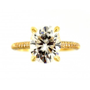 18K YELLOW GOLD 3.00CT OVAL FOREVER ONE MOISSANITE ENGAGEMENT RING