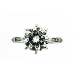 18K WHITE GOLD 2.25CT ROUND FOREVER ONE MOISSANITE ENGAGEMENT RING