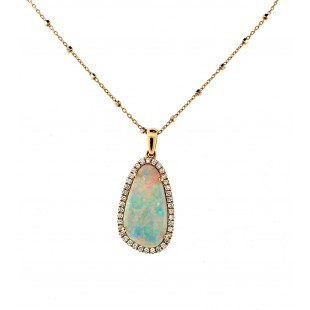 14K ROSE GOLD OPAL AND DIAMOND PENDANT