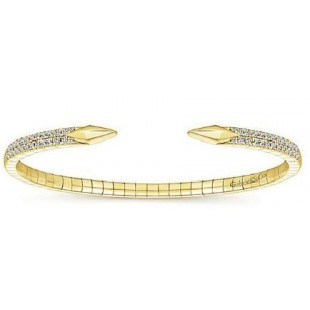 14K YELLOW GOLD OPEN FRONT DIAMOND BANGLE