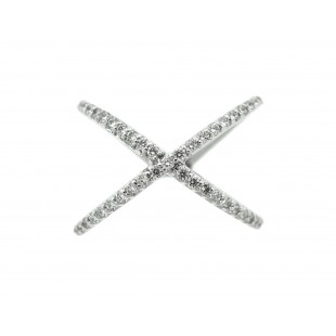 "14K WHITE GOLD DIAMOND FASHION ""X"" RING"