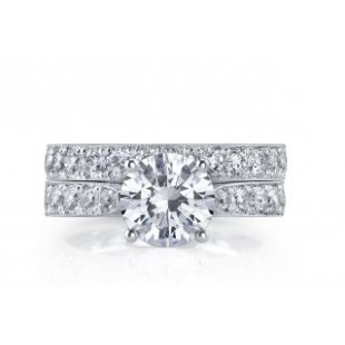 18K White Gold Diamond Engagement Ring Setting for 2 Carat Round