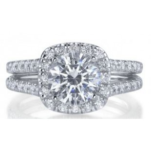 18K White Gold Square Halo Engagement Setting for a 1.50 Carat Round Diamond