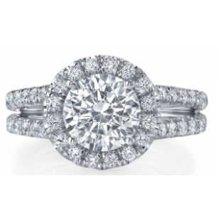 18K White Gold Round Halo Engagement Setting for a 1.50 Carat Round Diamond