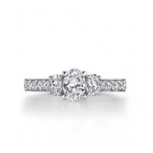 18K White Gold 3 Stone Oval Cut Diamond Engagement Ring Setting