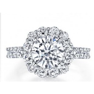 18K White Gold Square Halo Engagement Setting for a 2.0 Carat Round Diamond