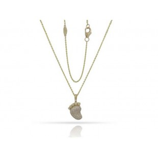 14K YELLOW GOLD DIAMOND FOOT PENDANT