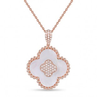 14K ROSE GOLD  MOTHER OF PEARL AND DIAMOND CLOVER PENDANT