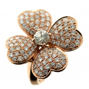 18K ROSE GOLD DIAMOND FLOWER RING