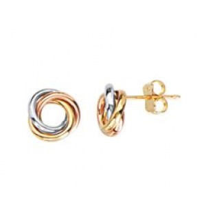 14K WHITE, YELLOW AND ROSE GOLD OPEN LOVE KNOT STUD EARRINGS