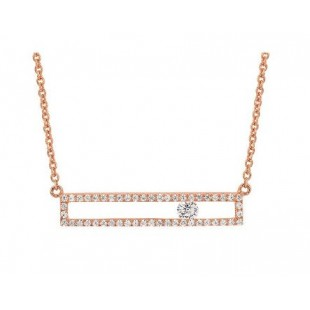 14K ROSE GOLD DIAMOND RECTANGLE PENDANT