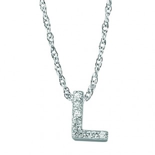 "18"" 14K WHITE GOLD DIAMOND INITIAL ""L"" PENDANT"