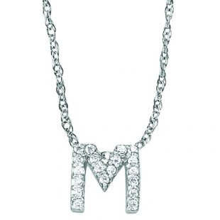 "18"" 14K WHITE GOLD DIAMOND INITIAL ""M"" PENDANT"