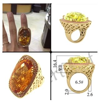 7.0-Carat Oval Shaped Citrine set in a Halo of Red Cognac Diamonds.